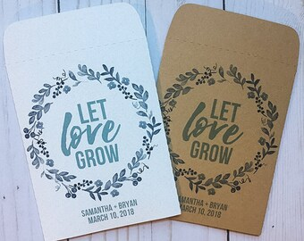 Seed Packets Wedding Favors Gifts Let Love Grow Blue flower Wreath Personalized Envelopes - Rustic Kraft, DIY, Bridal Shower, Baby, Seeds