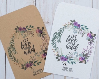 Seed Packets Wedding Favors Gifts Purple Let Love Grow Wild Personalized Envelopes - Rustic Kraft, DIY, Handmade, Bridal Shower, Baby, Seeds