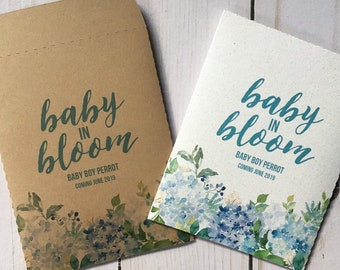 Boy Watercolor Baby Shower Favors Seed Packets Baby in Bloom Floral Personalized Envelopes Flower Custom Gifts Baby Shower Gifts Hydrangea
