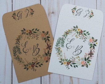 Wedding Favors Seed Packets Invitations Neutral Initial Personalized Envelopes - Rustic, Kraft, DIY, Handmade, Bridal Shower, Baby, Seeds