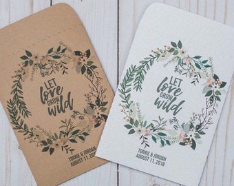 Seed Packets Wedding Favors Gifts White Let Love Grow Wild Personalized Envelopes - Rustic Kraft, DIY, Handmade, Bridal Shower, Baby, Seeds