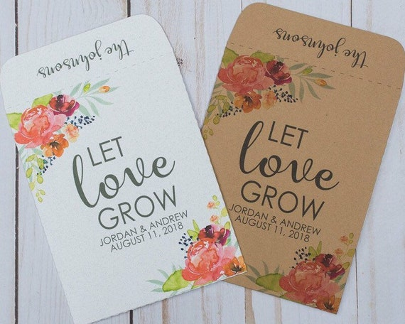 Watercolor Wedding Favors Seed Packets Let Love Grow Bright Etsy