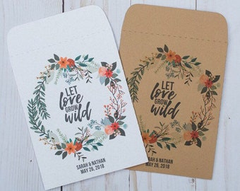 Wedding Favor Seed Packets Gifts Let Love Grow Wild Kraft Floral sets of 25 - Red Orange, Baby Shower, Rustic, DIY, Personalized, Custom
