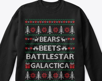 The Office tv show | Christmas sweater  | Bears, Beets, Sweatshirt, ugly, Christmas jumper, Dwight Schrute,Dunder Mifflin, christmas gifts