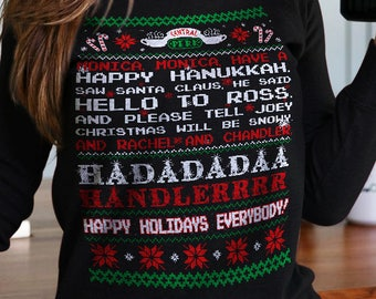 Friends tv show, christmas sweater, Monica monica have a happy Hanukkah sweatshirt,ugly christmas sweater,vintage,jumper, christmas gifts
