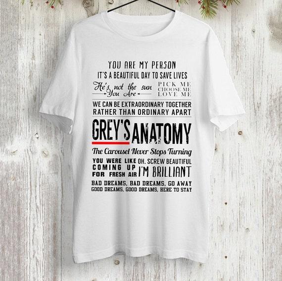 Grautöne Anatomie Sprüche T-shirt greys Anatomy schwarzen | Etsy