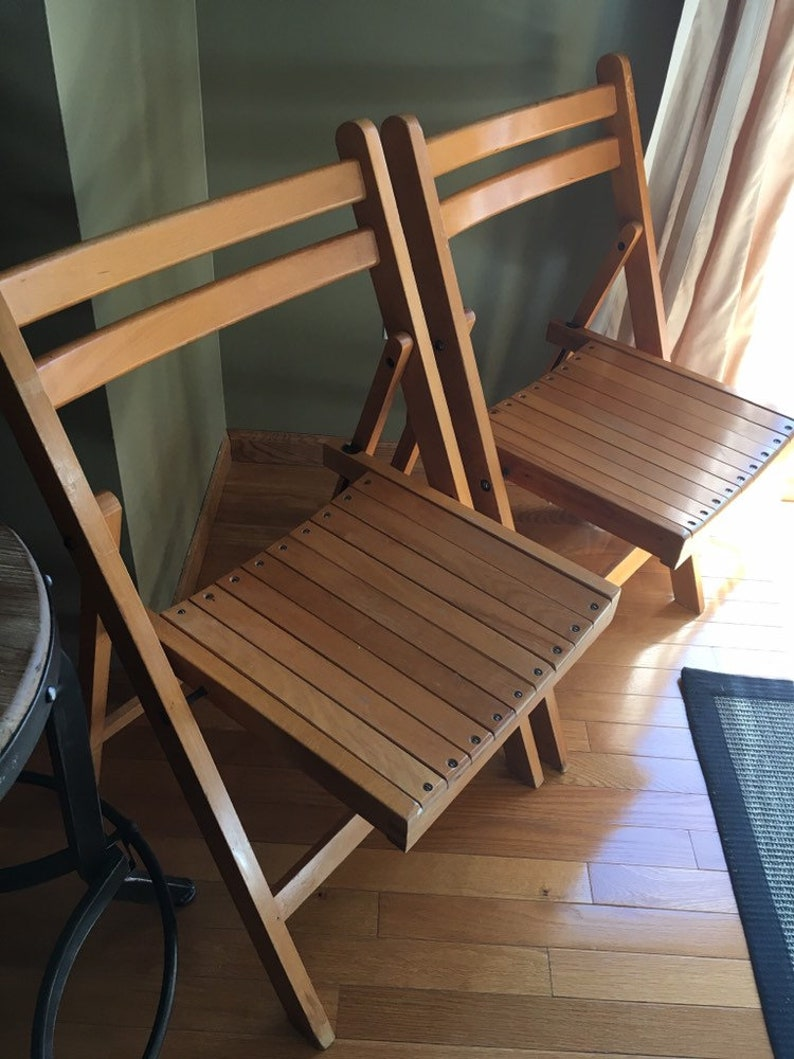 Vintage Mid Century Made In Yugoslavia Wooden Folding Chairs Set Of 2