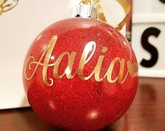 Glittered Ornament/Christmas Ornament/Christmas/Ornament with Vinyl