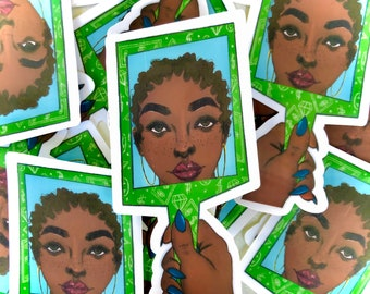African American Woman Art Sticker | Laptop Decal | Black Girl Art | Black Girl Stickers | Black Girl Planner Sticker| Manifestations