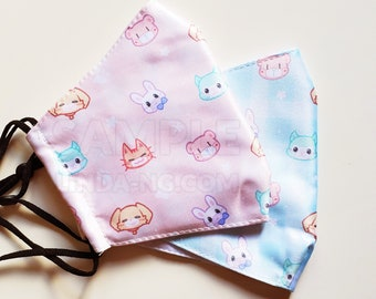 Cute animals wearing masks gingham pastel kawaii pattern face mask for adults with pocket for filter