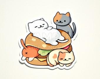 """Neko Atsume kitty burger 3"""" vinyl sticker"""