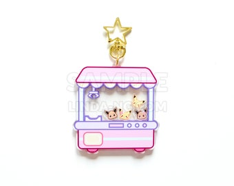 """Pastel kawaii claw game Pikachus and Eevees 3"""" inch double sided shaker keychain"""