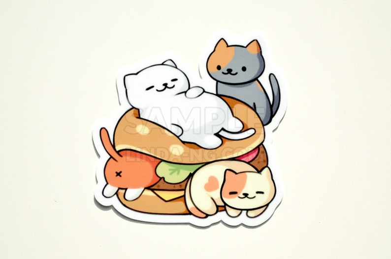 Neko Atsume kitty burger 3 vinyl sticker image 0