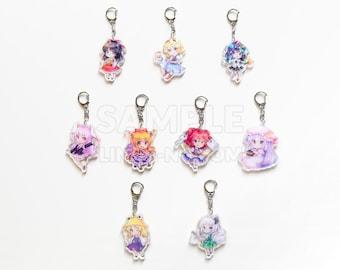 "Touhou Project chibi 2.5"" inch shiny holographic acrylic double sided charm keychain"