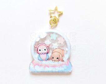 "Alpaca and bunny snowglobe 3"" inch double sided shaker keychain"