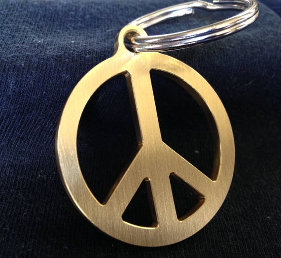 Solid Brass Peace Symbol Keychain Made In The Usa Etsy