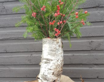 Natural Birch Bark Vase filled with Fresh Balsam Fir, Red Willow and Rose Hip branches