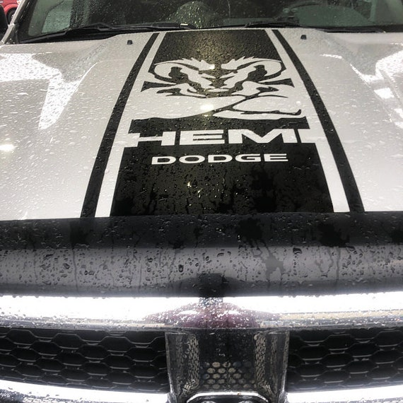 Hood Decal Dodge Ram Hemi 1500 2500 3500 Rebel Mopar Vinyl Cut Stripe Graphic l