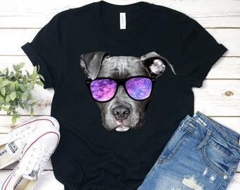 343b9ddfb Pitbull Shirt - Funny Pit Bull T Shirt for Women & Men - Space Pitbull with  Sunglasses Tee - Pitbull Gift for Kids and Adults -Gray Pitbull