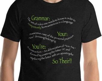 Grammar T Shirt, Grammar Police Shirt, Grammar Lover Gift, Funny Grammar Tee, Grammar Gift, Teacher Gift, English Major Gift, Grammar Funny