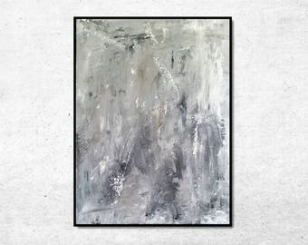 Original Abstract Painting, Canvas Art Painting, Abstract Wall Art, White and Gray Abstract Art, Light Modern Art, 18x24 Abstract Art