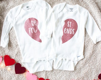 IVF Onesies® Best Friend Onesies® Twin Onesies® Valentines Clothes Best Friends Coming Home Outfit, Baby Girl Clothing Gift Baby Shower Gift