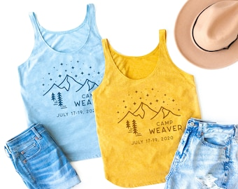 Camp Bachelorette Party Girl Weekend Gift Shirt, Camping Mountain Hiking Trip Tank Tops, Summer Outdoor Vacation Tee, Matching TShirt Nature