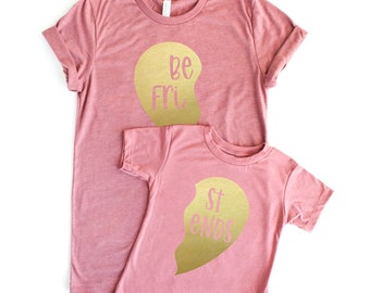 Mothers Day Gift Mommy and Me Outfits Matching tshirt Best Friends Matching Tees Mom Daughter Shirts Pink Gold Heart mamas mini