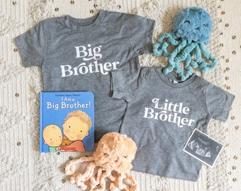 Big Brother Shirt, Matching Siblings T-Shirt, Pregnancy Announcement TShirt, New Baby Little Bro Big Sister Little Sis Outfits Toddler Tees