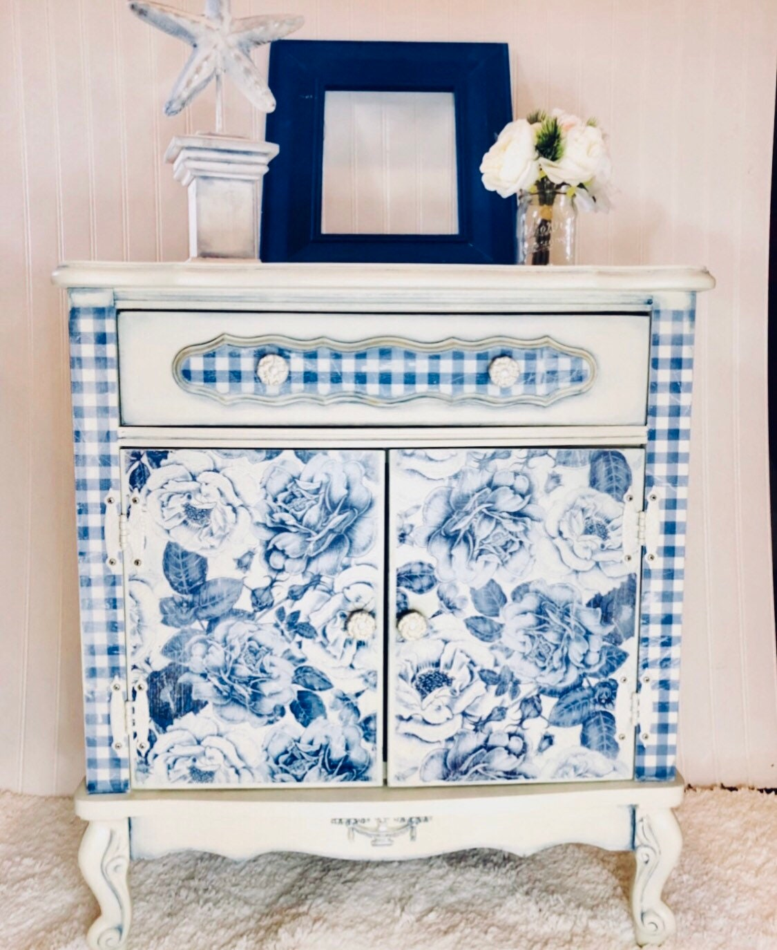Blue Floral Accent Cabinet Off White Accent Cabinet End Table