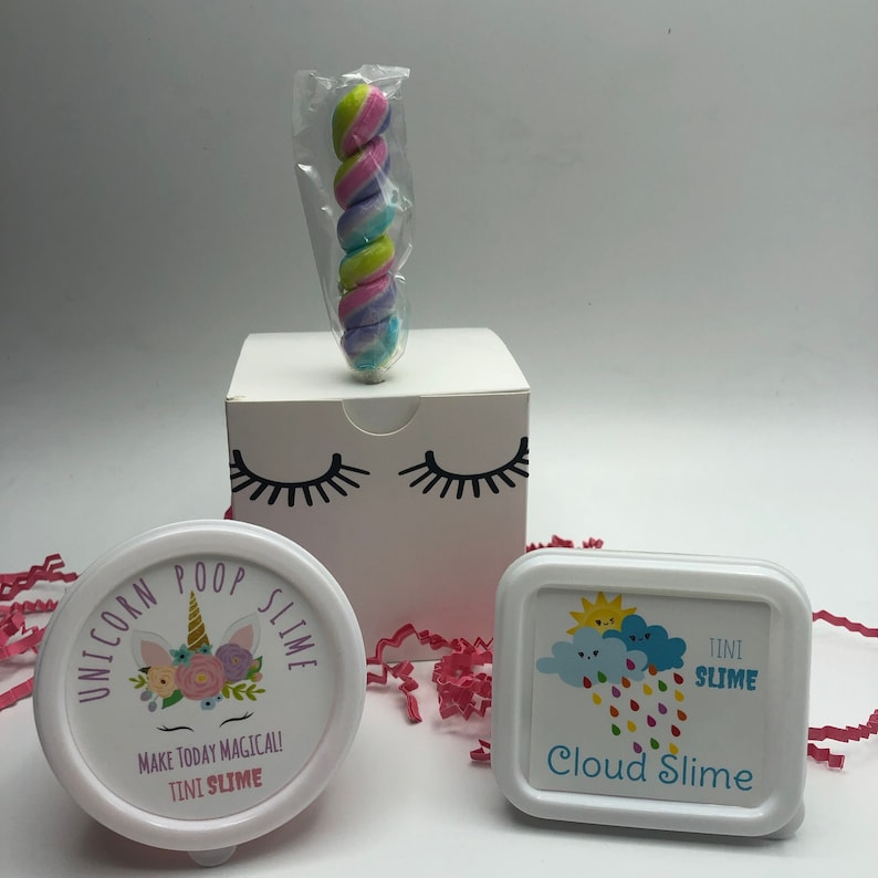 Unicorn Party Favors Slime Box with Unicorn Horn Sucker image 0