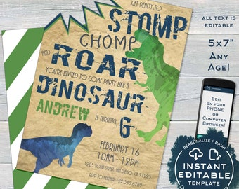Dinosaur Birthday Invitation With Bite Editable Stomp Chomp And Roar Invite Boy ANY Age Party Printable Template INSTANT DOWNLOAD
