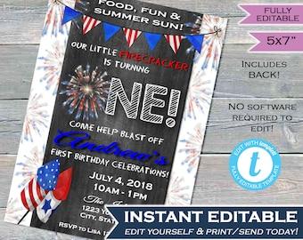 One Firecracker Birthday Invitation 4th Of July First Invite Firework Chalkboard Template Custom Printable INSTANT EDITABLE 5x7