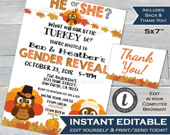 Little Turkey Gender Reveal Invitation Editable Baby Shower Boy Invite Thanksgiving He Or She Printable Template INSTANT DOWNLOAD 5x7