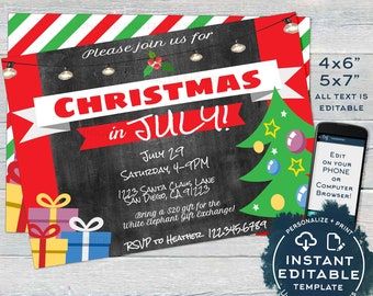 Christmas In July Invitations Free.Christmas In July Invitation Summer Party Christmas 4th
