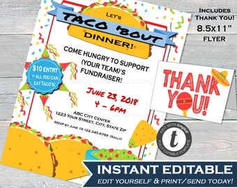 taco dinner fundraiser flyer invitation editable all you can eat taco bout a party fundraiser diy fiesta printable instant download 85x11