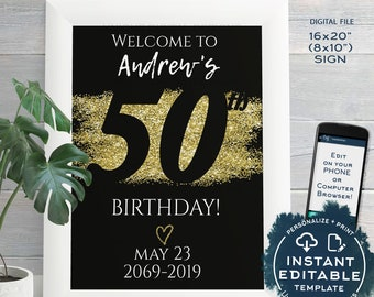 50th Birthday Welcome Sign ANY Year Adult Party Decoration Black Gold Glitter Diy Printable Template INSTANT EDITABLE 16x20 8x10
