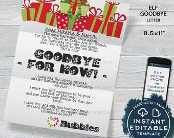 elf goodbye letter editable elf letter template custom santa letter shelf prop christmas elf letter printable instant download 85x11