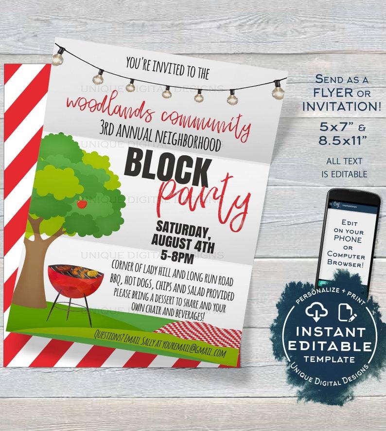 Editable Block Party Invitation Template Neighborhood Street Backyard Summer BBQ Grill Out Hoa Custom Diy Printable INSTANT DOWNLOAD