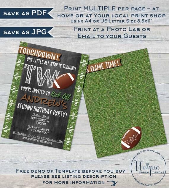 Football Birthday Invitation Editable Second Birthday Invite Etsy