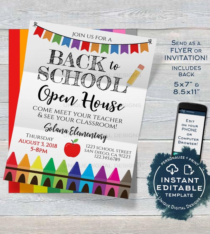 Back To School Open House Invitation Meet Your Teacher Pta Etsy