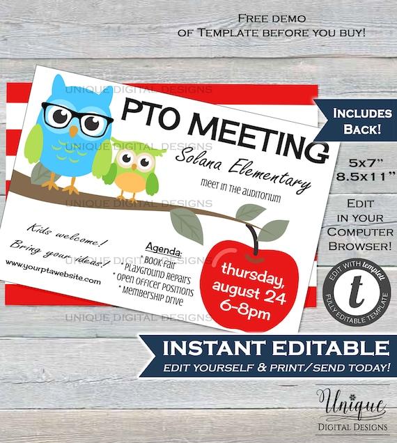 Pta Meeting Invitation Editable Parent Teacher Invite Pto Etsy