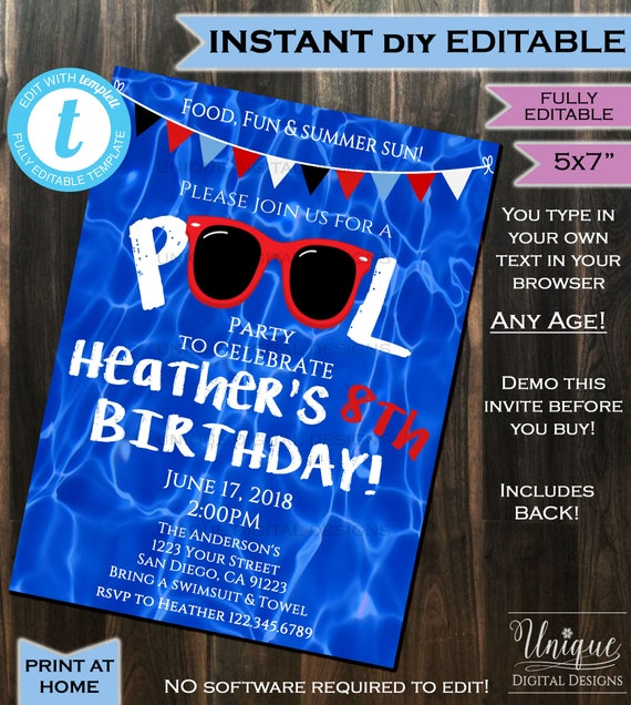 pool party invitation summer sunglasses red white blue party etsy