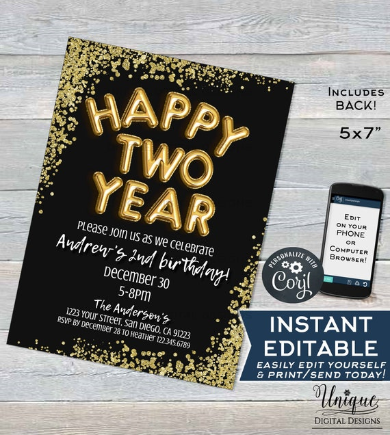 Happy Two Year Birthday Invitation Editable 2019 New Years