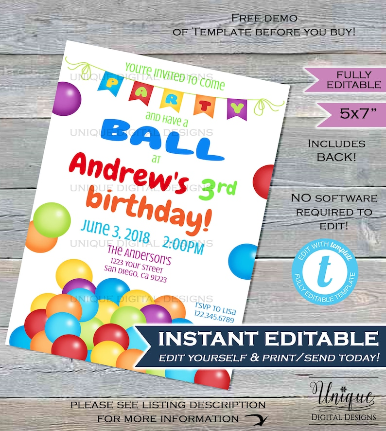 photograph relating to Have a Ball This Summer Free Printable called Ball Celebration Invitation Summertime Boys or Gals Birthday Celebration Ball Pit Leap ANY Age Impartial Birthday Tailor made Printable Quick Self EDITABLE 5x7