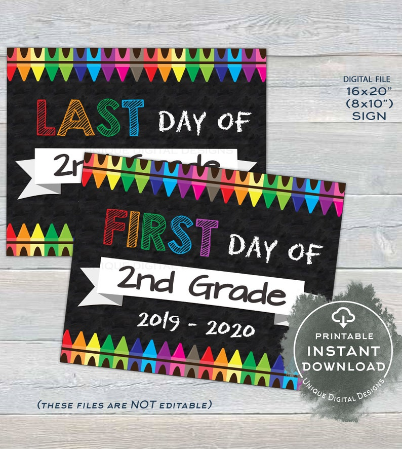 photograph regarding Free Printable Templates for 1st Day of School Signs for Boys referred to as Initial working day of Higher education Chalkboard Indication reusable, 1st working day 2nd Quality Signal Final working day of Higher education Crayon Electronic Printable Instantaneous Down load 16x20 8x10