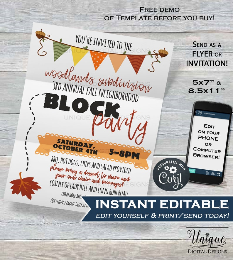 Neighborhood Block Party Invite Editable Street Printable Invitation BBQ Picnic Fall INSTANT DOWNLOAD 5x7 Flyer