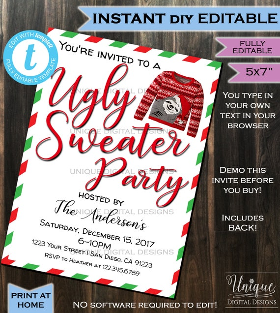 Ugly Christmas Sweater Party Invite.Ugly Christmas Sweater Party Invitation Ugly Sweater Invitation Happy Holiday Party Xmas Printable Custom Diy Instant Self Editable 5x7