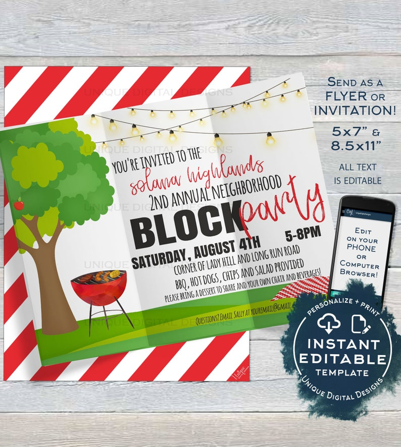 Block Party Invitation Template Editable Neighborhood Street Flyer Backyard Summer BBQ Grill Out Custom Printable INSTANT DOWNLOAD