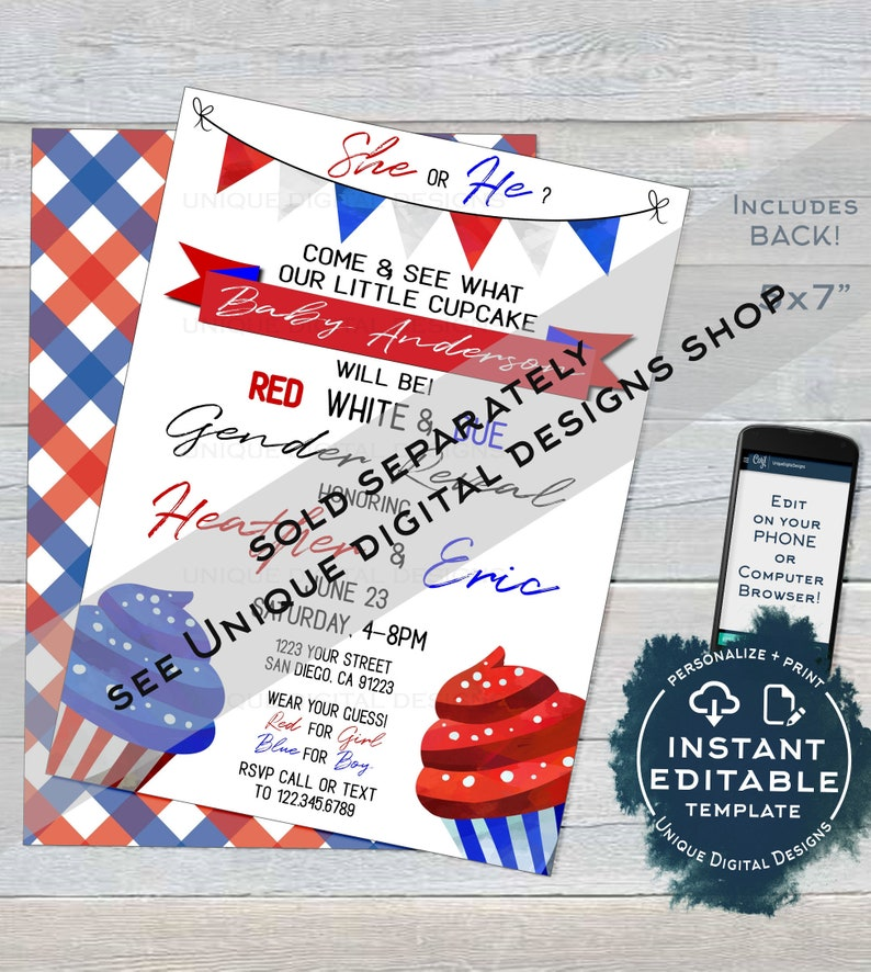 Editable 4th of July Firecracker Baby Shower July 4th bbq Printable INSTANT ACCESS Red White and Due Firecracker Gender Reveal Invitation